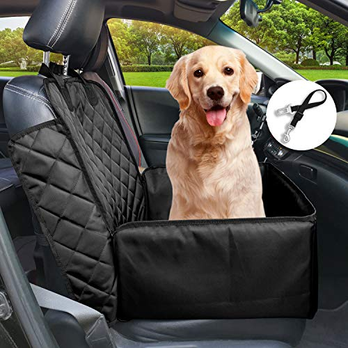 Flow.month Pet Front Seat Cover Pet Booster Seat,Deluxe 2 in 1 Dog Seat Cover for Cars Waterproof Dog Front Seat Cover Pet Bucket Seat Cover with Safety Belt(Black)
