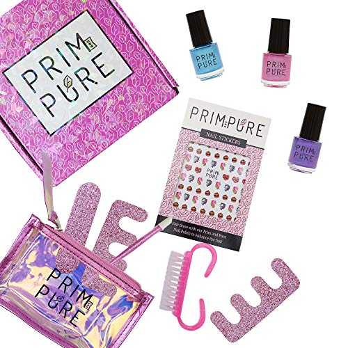 Prim and Pure Nail Polish Set Made for Kids | Non-Toxic Formula & Easily Peels Off | Made from Fruits & Veggies | Washable, Odorless and Fast drying | Made in USA (Pink, Purple, Teal)
