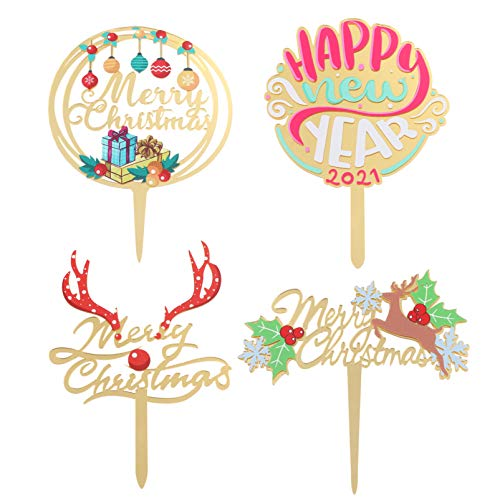 PRETYZOOM 4Pcs Acrylic Merry Christmas Cake Topper Reindeers Holly Berry New Year Cake Picks Cake Decoration for Christmas Party Holiday Supplies