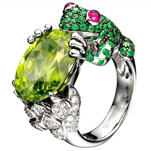 Anillo de cristal verde de la rana del circón oval lindo animal anillos joyería rhinestone declaración anillos para mujeres niñas