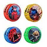 Geenber Ladybug Yo-yos Ball Flash LED Light Up Toy para niños Creative Malabares Cosplay Juguetes para niñas o niños Figuras de acción Regalo (Paquete de 4)