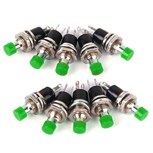 10 Pack Momentary Mini Push Button Schalter Drucktaster Schalter fit für Model Railroad Hobby (Grün)