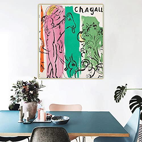 WJWGP Marc Chagall Pintura 《Jacques Lassaigne 1957》 Lienzo Pared Arte óLeo Pintura Caballo Volando En El Cielo Obra De Arte PóSter Verde Vaca Cuadros GaleríA DecoracióN