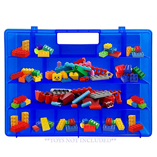 Life Made Better, Blue Building Bricks Organizer Case, Toy Storage Carrying Box Compatible to Store Dozens of Legos & Building Bricks - Advanced Toy Storage Organizer Accessory by LMB