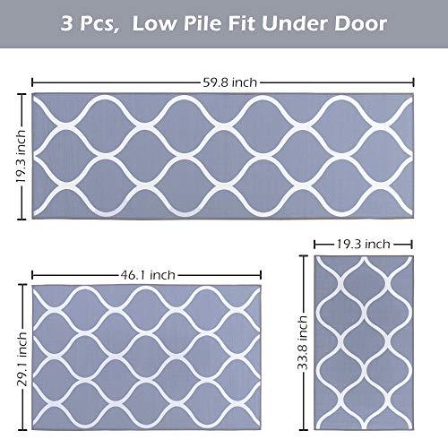 Carvapet 3 Pieces Moroccan Trellis Non-Slip Kitchen Rug Set Throw Rugs Doormat Runner Carpet Set for Entryway, Grey
