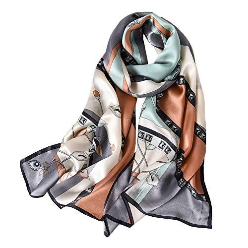 Women's 100% Mulberry Silk Scarf Floral Print Satin Long Scarf Wrap Shawl (Fzlr03)
