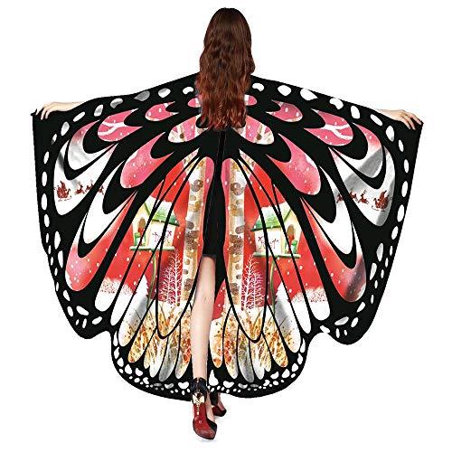 UJUNAOR Männer Damen Neu Schmetterling Print Cape Schal Weihnachten Poncho Wrap Kostüm für Camping Outdoor Aktivitäten(Z1-Rot,One Size)