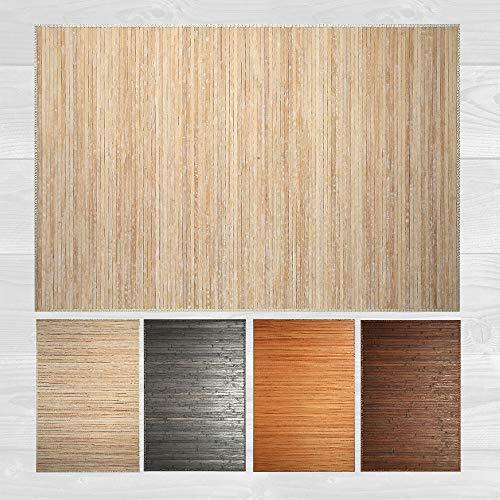 LucaHome – Alfombra bambú Uganda Ideal para Interior o Exterior, Alfombra bambú para Cocina, salón, despacho, Dormitorio con Cenefa, Alfombra de bambú Antideslizante (Wash White, 160x230cm)