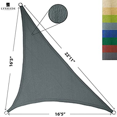 LyShade 16'5 x 16'5 x 22'11 Right Triangle Sun Shade Sail Canopy (Cool Grey) - UV Block for Patio and Outdoor