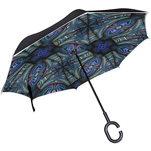 Wheatleya Regenschirm Kaleidoscopic Wallpaper Fliesen Reverse Taschenschirm Winddicht UV Regen mit C-förmigen Griff