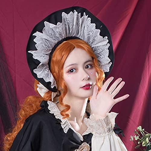 XKMY Top Hat Limited Edition Japanische Lolita OP Bonnet Hut Cosplay Prinzessin Sweet Lolita Vintage Frauen Gothic Spitze Sonnenhut (Farbe: schwarzer Hut)