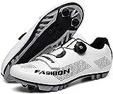 KUXUAN Calzado de Ciclismo MTB para Hombre,Calzado de Bicicleta Profesional Zapato de Bicicleta de Montaña con Autobloqueo,White-45=(275mm)