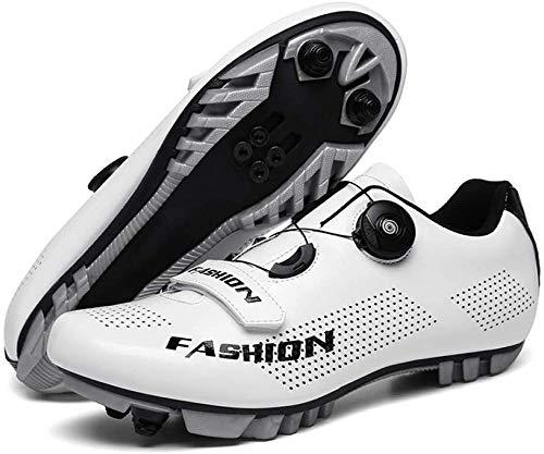 KUXUAN Calzado de Ciclismo MTB para Hombre,Calzado de Bicicleta Profesional Zapato de Bicicleta de Montaña con Autobloqueo,White-39=(245mm)