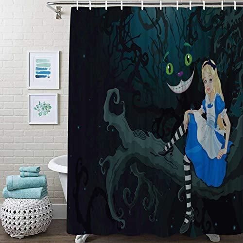 "Guftay Alice in Wonderland Shower Curtain, Alice Sitting Branch Chescire Cat in Darkness Cartoon Curtain, Waterproof Fabric for Bathroom Decor Shower Curtains Set with Hooks, 72"" X 72"" Dark Green"