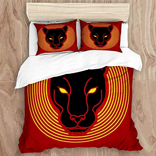 YCHY8 Duvet Cover Set,Black Panther Head Leopard Background,Decorative 3 Piece Bedding Set with 2 Pillow Shams, King Size