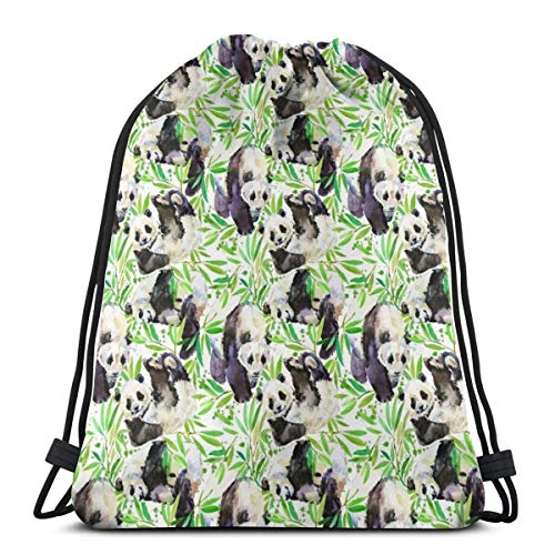 XCNGG cute panda animal pattern Unisex Drawstring Backpack Bag, Polyester Cinch Sack, Waterproof Sport Gym Bag Casual Daypack for Women Men