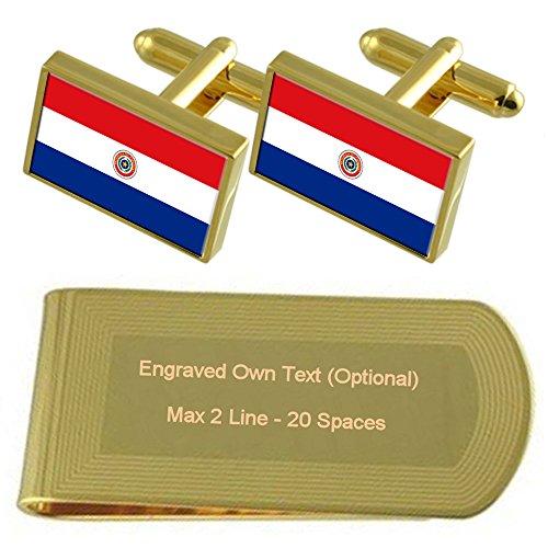 Select Gifts Paraguay Bandera de Tono Oro Gemelos Money Clip Grabado Set de Regalo