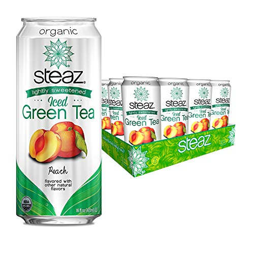 Steaz Lightly Sweetened Iced Green Tea, Peach, 16 Fl Oz, Pack of 12