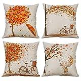 Gspirit 4 Stück Kissenbezug Herbst Ahornblatt Muster Dekorative Kissenhülle Baumwolle Leinen Werfen Sie Kissenbezüge 45x45 cm