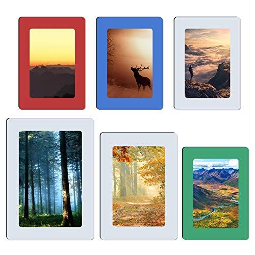 MoYouno 6 Stück magnetischer Fotorahmen Kühlschrankrahmen für Ansichtskarte, magnetische Fototasche, Hauptwanddekor, 3 Größen
