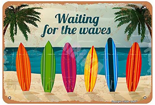 Tabla de surf de Waiting For The Wave Ocean Beach de 8 x 12 pulgadas con aspecto retro de decoración de metal para el hogar, cocina, baño, granja, jardín, garaje, divertido decoración de pared