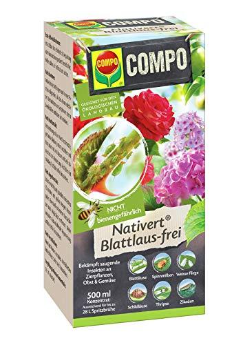 Compo Nativert Blattlaus-frei, Bekämpfung von saugenden Insekten an Zierpflanzen, Obst und Gemüse, 500 ml (27 L Spritzbrühe)