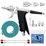 Double Action Trigger Airbrush Kit Air Brush Spray Tool with 0.3mm/0.2mm/0.5mm Needles,2CC/5CC/13CC Paint Cup,Air Hose for Tattoo Nail Art Car Hobby Painting Photo Retouching Cake Decorating Textiles