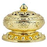HEEPDD Quemador de Incienso, Soporte de Incienso de Bobina Soporte de Quemador de Incienso de incensario de cerámica de Flujo de Retorno de Humo para la decoración(Oro)