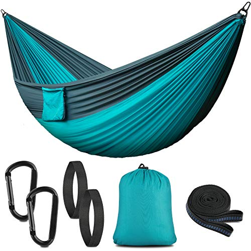 PHYSEN Ultra-Light Travel Camping Hammock 200kg Load Capacity,(275 x 140 cm) Breathable,Quick-drying Parachute Nylon,2 x Premium Carabiners,2 x Nylon Slings Included,Outdoor Indoor Garden Beach