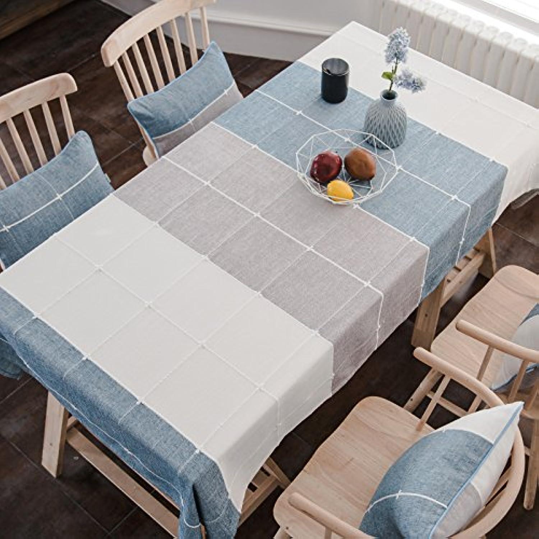 HL-PYL Moderne minimalistischen Leinen Tischdecken Tuch Tuch Tuch rechteckigen Gitter Skandinavien, blau, 130X220Cm, B07CGN16GL Sehr gute Farbe    | Bekannt für seine hervorragende Qualität