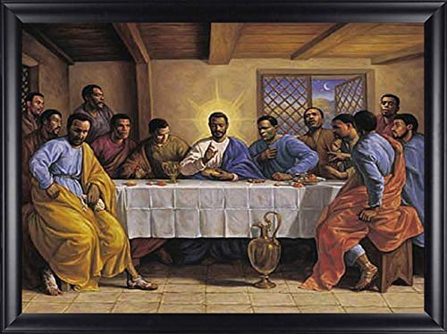 HSE Last Supper by Sarah Jenkins Framed African American Religious Art Picture Finished Size: 28x40
