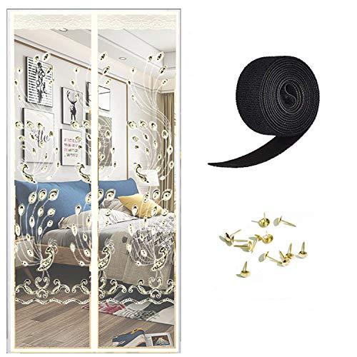SHUSHI Magnet Fliegengitter Tür Insektenschutz Balkontür Fliegenvorhang - Klebmontage ohne Bohren - Vorhang für Balkontür Wohnzimmer Schiebetür Terrassentür/D / 90 * 205CM