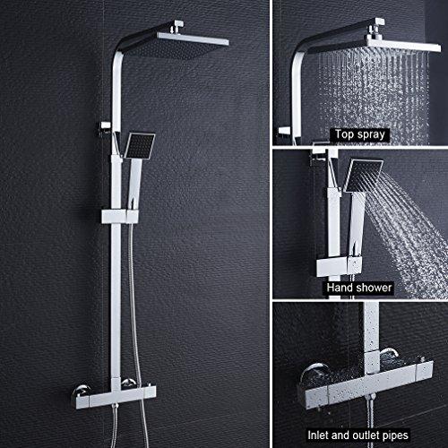 WOOHSE Columna de Ducha termostatica con alcachofa y Alcachofa de Mano Ajustable, Barra de ducha ajustable en altura para bañera y ducha
