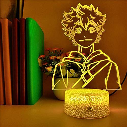 de ilusión 3D Luz de noche Led Control inteligente Voleibol Haikyuu Hinata Shoyo Anime Fiesta Decoración de la casa de mesa de estudio