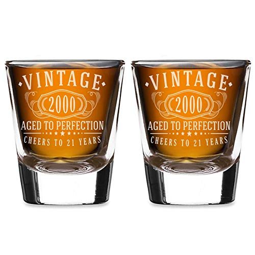 2pk Vintage 2000 Etched 2oz Shot Glasses - 21st Birthday Aged to Perfection - 21 years old gifts
