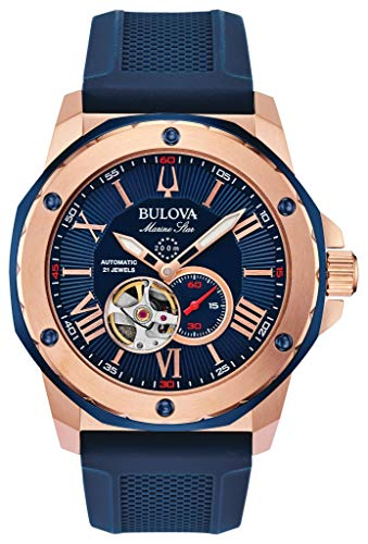Bulova Herren Analog Automatik Uhr mit Silikon Armband 98A227