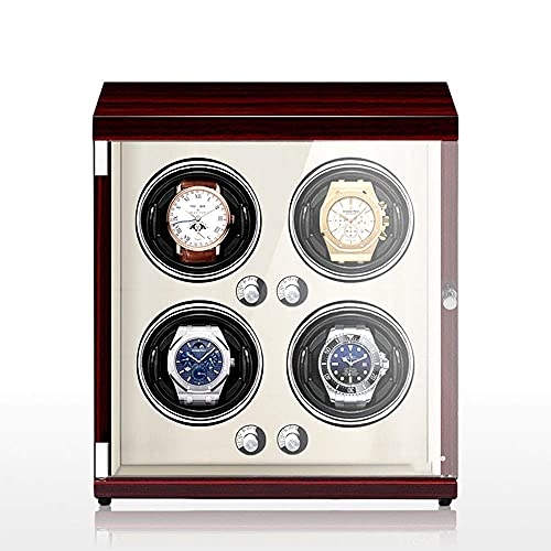 N&W Automatic Watch Winder For 4 Watch Winding with 5 Roating Mode and Silent Motor LED Lamp and Anti-Magnetization Watch Storage Box (Co