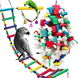 🐦 PACKAGE INCLUDE: 3 different parrot toys to meet any pet bird's needs. Perfect bird toys are available for large and middle parrots such as Childhood Macaw, African Grey Parrot, Amazon Parrot and Alexander. 🐦 LARGE BIRD TOYS SIZE: Color Block Toy: ...