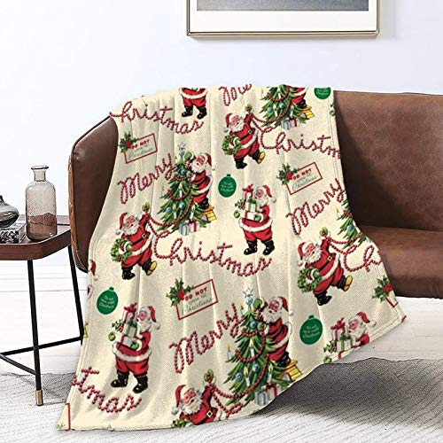 Super Soft Sherpa Flannel Fleece Throw Wrap Cover Cloak for Lounge Couch Reading Watching TV, Merry Christmas Santa Claus X-mas Art Queen Size Office Blankets Throw Wearable Blankets