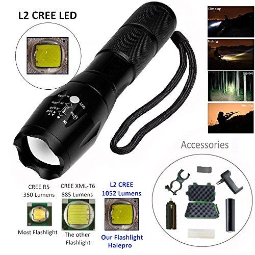 Covermason Ensemble de Lampe de Poche,Lampe de Poche Tactique à focale réglable Super Lumineuse XML L2 LED + Batterie 18650 + Support + Chargeur + étui + Sac en Nylon