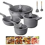 Juego de ollas y sartenes Simply, juego de utensilios de cocina resistentes al calor con cacerola, sartenes, ollas de cocina, cazuela, sin PTFE/PFOA/PFOS