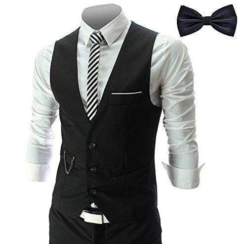 YaoDgFa Herren Weste Anzug + Fliege Smoking Sakko Anzugweste Herrenweste Herrenanzug slim fit Hochzeit feierlich Elegant, Schwarz, M