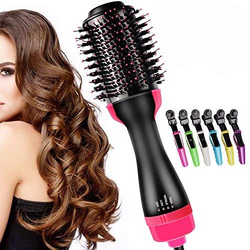 AsciugacapelliionicoMultifunzione, masswayOne-StepPettine4in1perStylercapelliRaddrizzatorepercapelliagliSpazzolapercapelliIonGeneratorricciHotAirComb con 6 Forcine per capelli