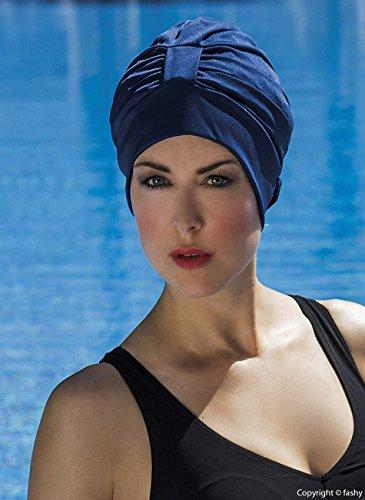 Fashy Cuffia Da Nuoto Tipo Turbante, Da Donna, Con Chiusura Regolabile, Colore Nero, Bianco, Rosso, Blu, Marrone, Navy Blue
