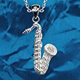 Cadena + colgante saxofón, plata de ley 925, circonitas, cristales de amor, creencia, esperanza, emoción, símbolo, diseño, objeto, nuevo bonito y moderno, color blanco transparente
