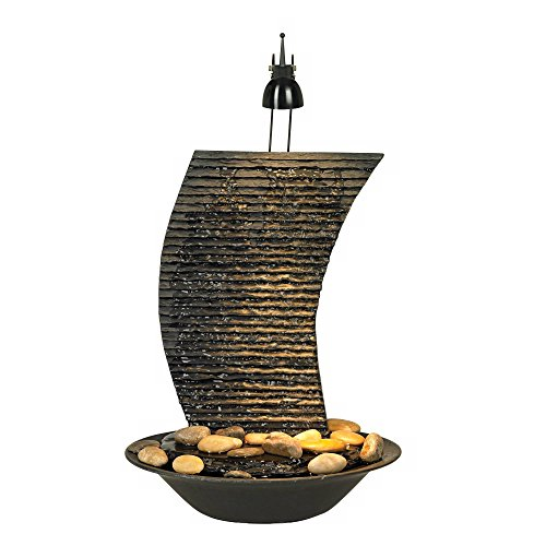 John Timberland Water Ripple Japanese Zen Indoor Table-Top Water Fountain with Light 17 1/4' High Waterfall for Table Desk Office Home Bedroom Relaxation