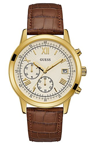 Guess Herren Chronograph Quarz Uhr mit Leder Armband W1000G3