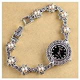 CHXISHOP Reloj de Pulsera de Las Mujeres 925 Silver Watch Gothic Retro Bead Bead Reloj de Cuarzo Pulsera Pulsera Watch black-18cm