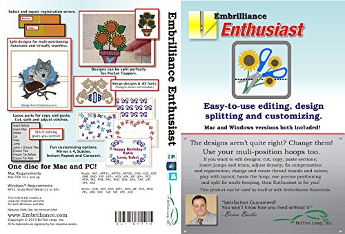 Embrilliance Enthusiast Embroidery Software for Mac & PC