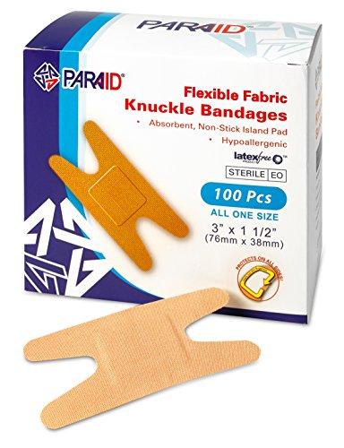 Vendajes de tela flexibles - Vendas adhesivas de tela flexible de nudillos para el cuidado de los dedos y para proteger las heridas de lnfecciónes - (Caja de 100 unidades)